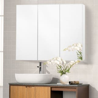 costway 36 wide wall mount mirrored bathroom medicine cabinet storage 3 mirror door