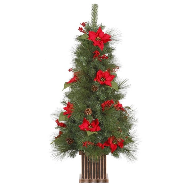 4' Poinsettia, Berry and Pine Cone Potted Artificial Christmas Tree - Unlit - green