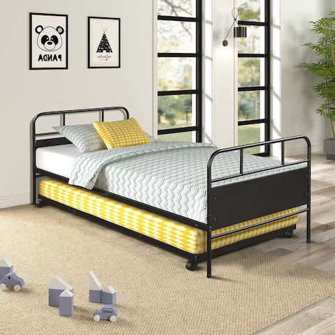 Twin Size Metal Daybed Platform Bed Frame with Trundle Built-in Casters
