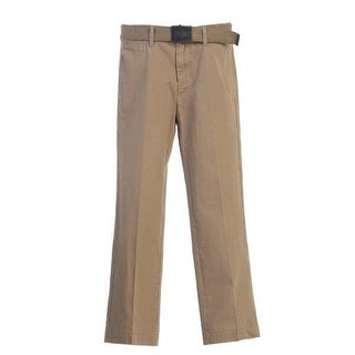 Little Boys Khaki Adjustable Belted Flat Front Twill Classic Pants 4-7 (4 options available)