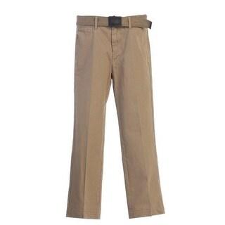 Little Boys Khaki Adjustable Belted Flat Front Twill Classic Pants 4-7