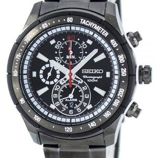 Link to Seiko Men's SNAC91 'Finder' Chronograph Black Stainless Steel Watch Similar Items in Men's Watches