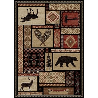 Link to Lodge King Patchwork Rustic Bear Area Rug Similar Items in Rustic Rugs