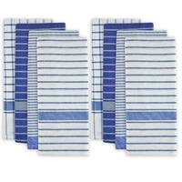 "Set of 8 Blue and White Striped Pattern Rectangular Dish Towels 28"" x 20"""