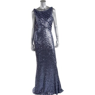 Badgley Mischka Womens Sequined Sleeveless Evening Dress