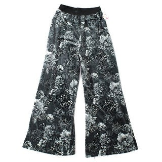 Wild Pearl NEW Black Women's Size XXS Floral Velvet Palazzo Pull On Pants