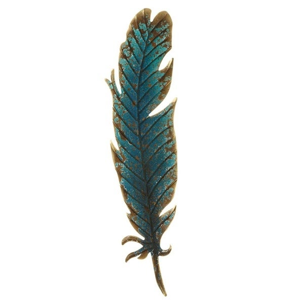 """Pack of 3 Blue and Brown Iron Large Feather Wall Decor 26.75"""" - N/A"""