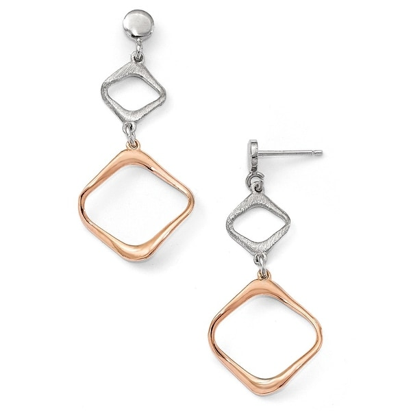 Italian Sterling Silver Rose Gold-plated Post Dangle Earrings