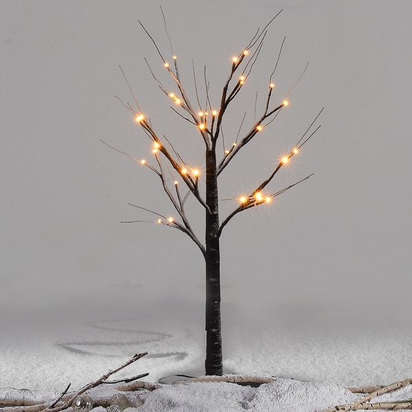 Costway 3Ft Christmas Xmas Brown Birch Snow Tree LED Light Warm Decorative Festival Party - as pic