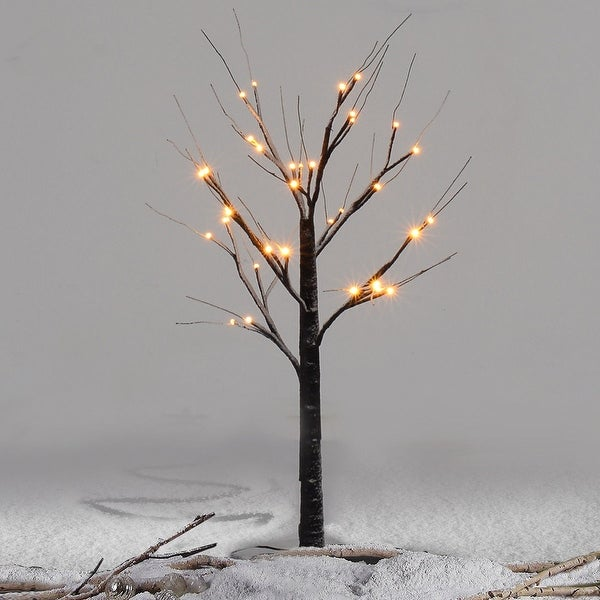 Costway 3Ft Christmas Xmas Brown Birch Snow Tree LED Light Warm Decorative Festival Party