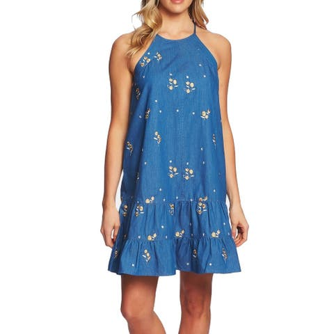 CeCe Women's Dress Denim Blue Size Large L Shift Embroidered Halter
