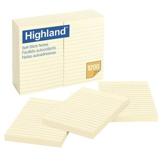 Highland Self-Stick Lined Notes, 4 x 6 in, Yellow, Pad of 100 Sheets, Pack of 12