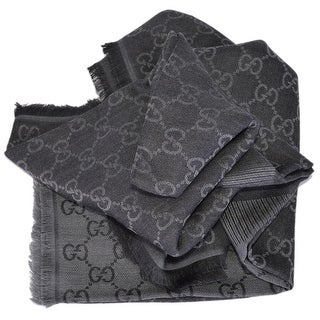 Gucci 281942 XL Wool Black Grey GG Guccissima Logo Scarf Shawl Wrap - Black And Grey