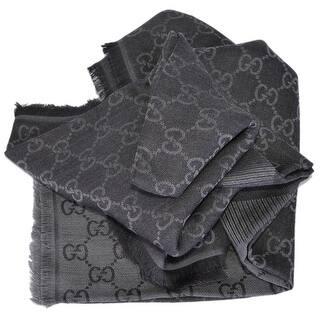 Gucci 281942 XL Wool Black Grey GG Guccissima Logo Scarf Shawl Wrap - Black And Grey https://ak1.ostkcdn.com/images/products/is/images/direct/9145511451508b20e1d7630edd6a3d4c6f748022/Gucci-281942-XL-Wool-Black-Grey-GG-Guccissima-Logo-Scarf-Shawl-Wrap.jpg?impolicy=medium