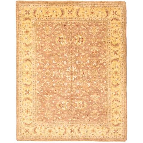 "ECARPETGALLERY Hand-knotted Peshawar Oushak Brown, Gold Wool Rug - 8'1"" x 10'3"""