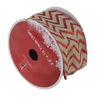 "Dazzling Red and White Chevron Wired Christmas Craft Ribbon 2.5"" x 10 Yards - brown"