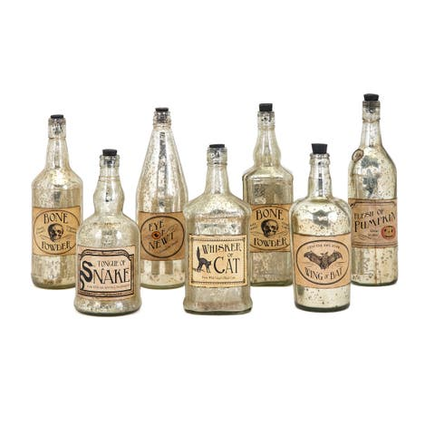 IMAX Home 82151-7 Apothescary Glass Bottles - Set of 7
