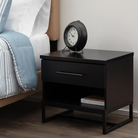 Brookside Eleanor Contemporary Wood and Metal Nightstand