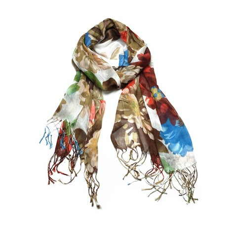 Women's Fashion Floral Soft Wraps Scarves - F2 Khaki - Large