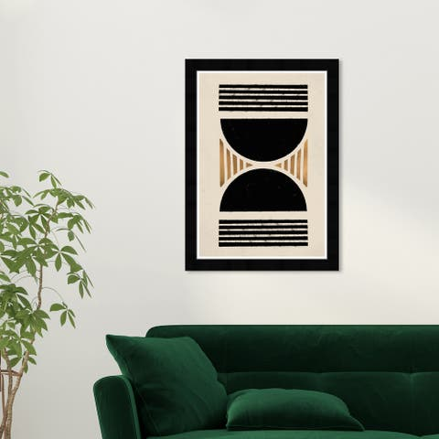 Wynwood Studio 'Hourglass' Abstract Wall Art Framed Print Shapes - Black, Gold