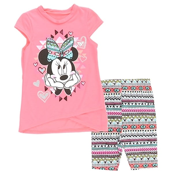 Disney Baby Girls Orange Minnie Mouse Aztec Motif Print 2 Pc Pant Set