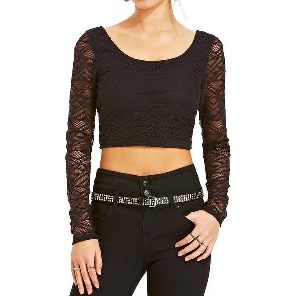 Material Girl Womens Juniors Crop Top Lace Scoop Neck - M