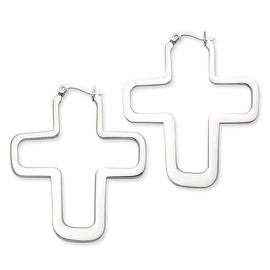 Chisel Stainless Steel Polished Crosses Earrings