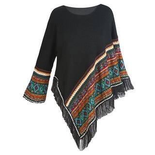 Women's Sweater Knit Poncho - Black Fringed Aztec Print Pullover Cape|https://ak1.ostkcdn.com/images/products/is/images/direct/9147de4da248c33109212225448198a972ed9d40/Women%27s-Sweater-Knit-Poncho---Black-Fringed-Aztec-Print-Pullover-Cape.jpg?impolicy=medium