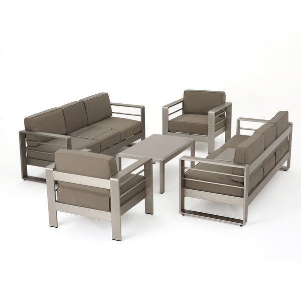 Cape Coral Outdoor Aluminum 5-piece Sofa Set with Cushions by Christopher Knight Home. Opens flyout.