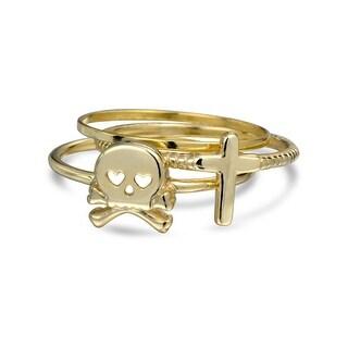 Skull Crossbones Cross Midi Rings Set Gold Plated Silver