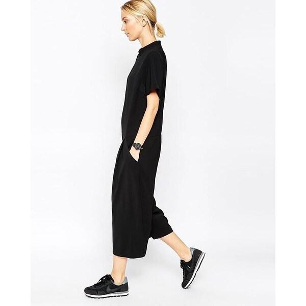 Shop Elegant Side Pocket Loose Fitting Romper Jumpsuit Black X Large