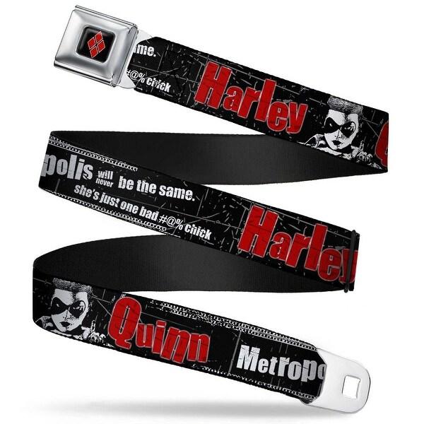Harley Quinn Diamond Full Color Black Red Harley Quinn Face Metropolis Will Seatbelt Belt