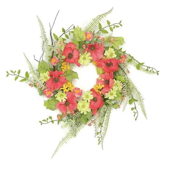"24"" Decorative Red Poppy and Orange Wildflowers Artificial Floral Wreath - Unlit"