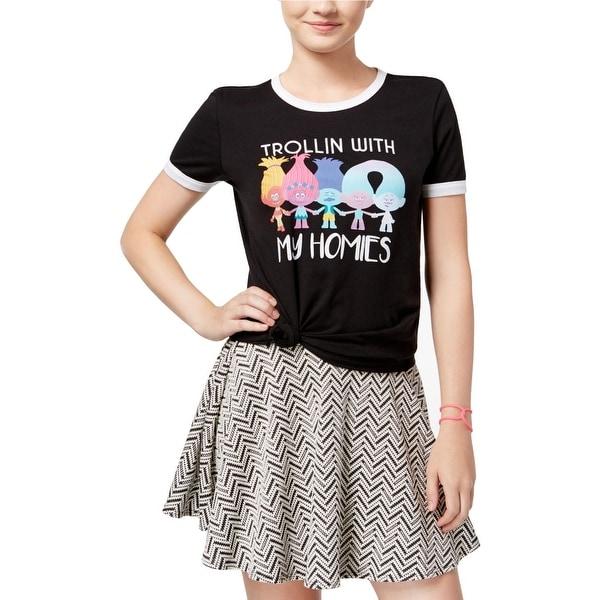 648e4f530 Shop DreamWorks Womens Juniors Trolls T-Shirt Graphic Contrast Trim ...
