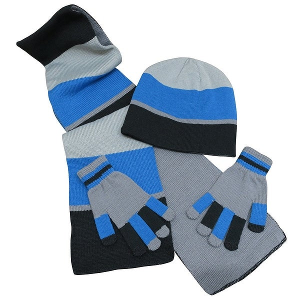 N'Ice Caps Adults Unisex Reversible Knit Hat/Scarf/Touchscreen Glove Set -  black/royal/grey