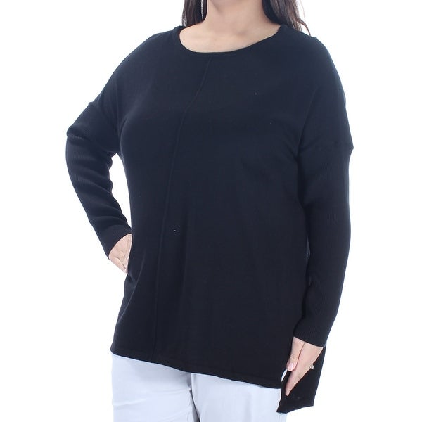 Womens Black Long Sleeve Jewel Neck Hi-Lo Sweater Size 1X