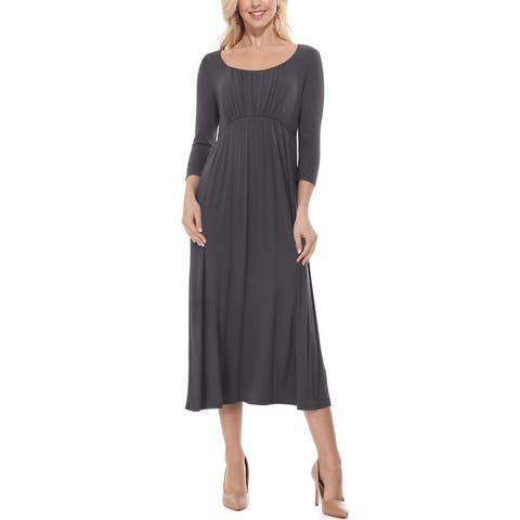 Women's Pleated Scoop Neck Solid Flared Midi Maxi Dress