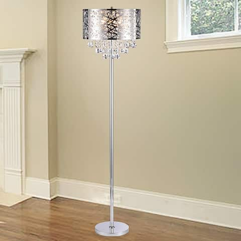 Ivica Chrome 3 Light Metal Crystal Floor Lamp