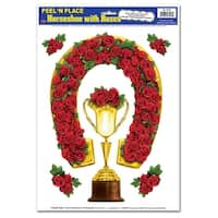 "Club Pack of 72 Horseshoe with Roses Derby Race Winner Peel 'N Place Cutout Decorations 17"" - Red"