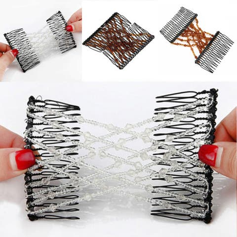 Vintage Women Elastic Beads Magic Hair Comb Double Slide Clip Hairpin Accessory