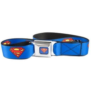 Buckle Down Kids' and Teens' Seatbelt Buckle DC Comics Superman Belt - Blue - One Size