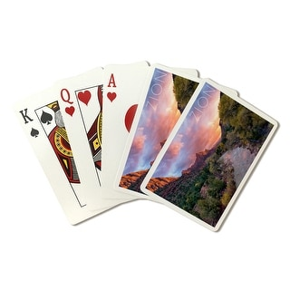 Zion National Park, Utah - The Watchman - Lantern Press Photography (Playing Card Deck - 52 Card Poker Size with Jokers)