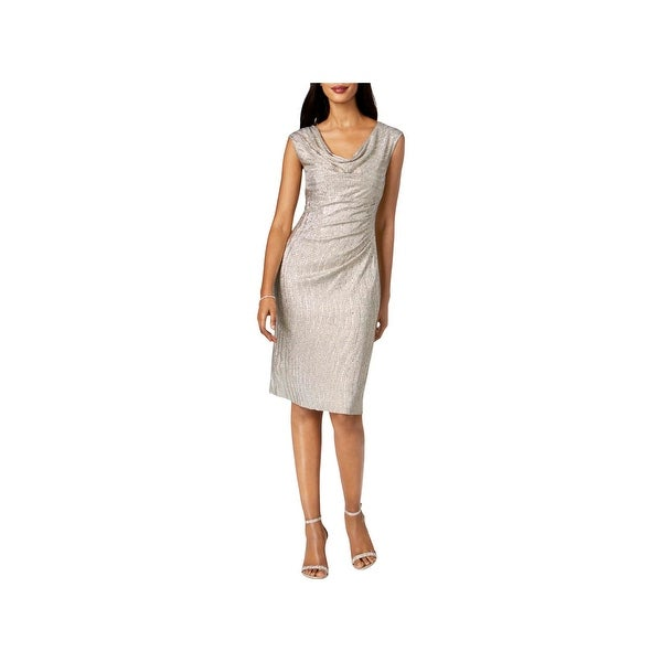 Connected Apparel Womens Cocktail Dress Metallic Sleeveless