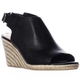 Via Spiga Ingrid Peep Toe Espadrille Wedge Ankle Strap Sandals - Black