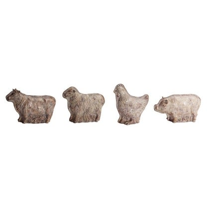 "Set of 4 Assorted Country Rustic Distressed Farm Animal Mold Tabletop Figures 5""-10"" - N/A"