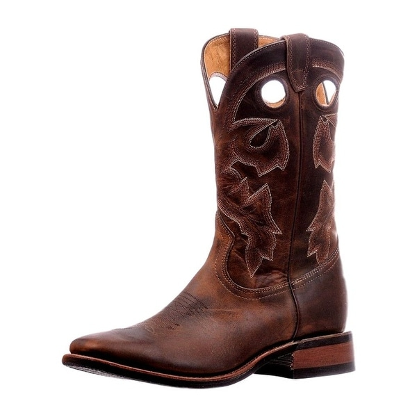 Boulet Western Boots Mens Pull Holes Stitching Laid Back Tan