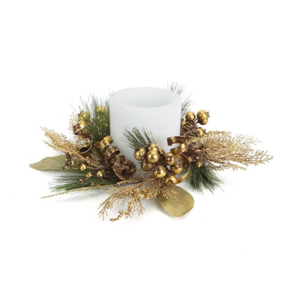 16 brown ribbonberrypine cone artificial christmas pillar candle ring - Decorative Christmas Candle Rings
