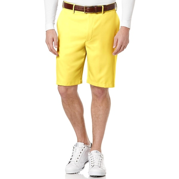 Pro Tour Cool Play Expandable Waistband Banana Cream Golf Shorts Flat Front