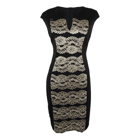 Connected Women's Cap Sleeve Lace Panel Dress