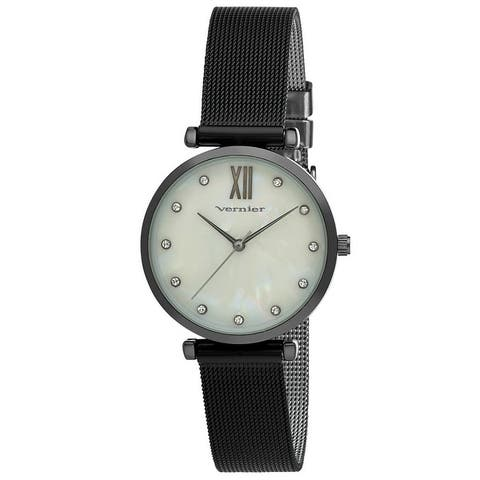 3 Colors Available- Vernier Mother of Pearl Dial Stone Marker Mesh Strap Watch